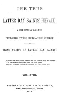 The True Latter Day Saints Herald Volume 18