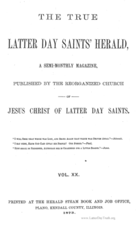 The True Latter Day Saints Herald Volume 20