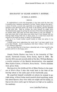 Biography Of Elder Joseph F  Burton [from Journal Of History